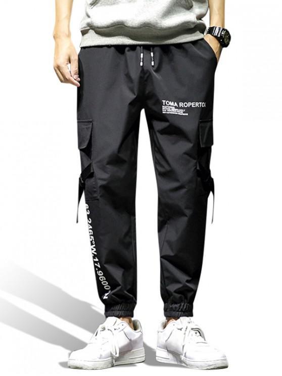 best Graphic Print Pocket Design Jogger Pants - BLACK 2XL