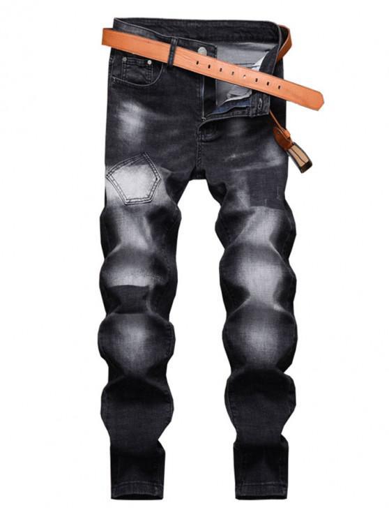 Ombre Impresso Zip Casual Jeans Fly - Preto 34