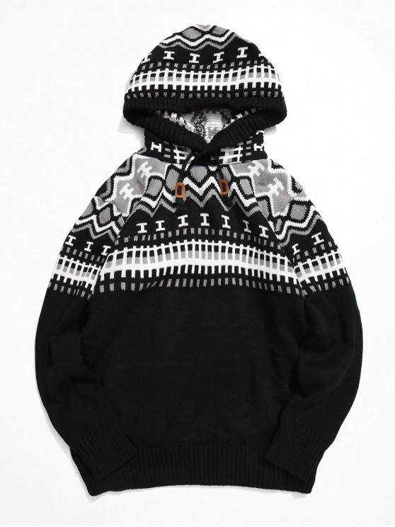 unique Geometric Print Drawstring Hooded Sweater - WHITE XS