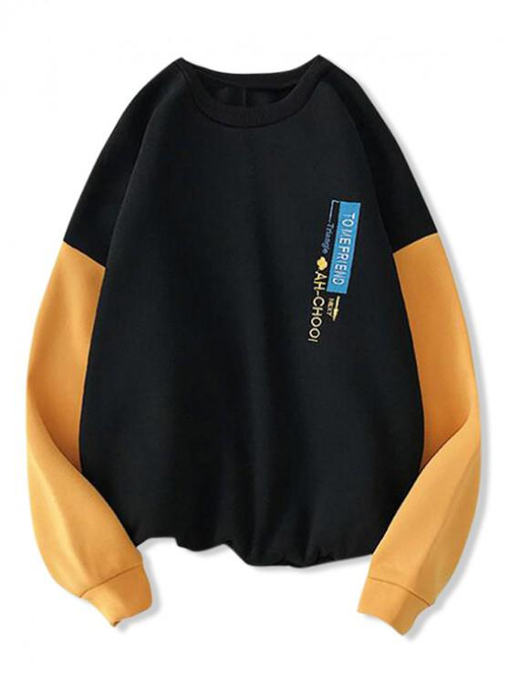 women's Graphic Embroidered Color Spliced Sweatshirt - BLACK L