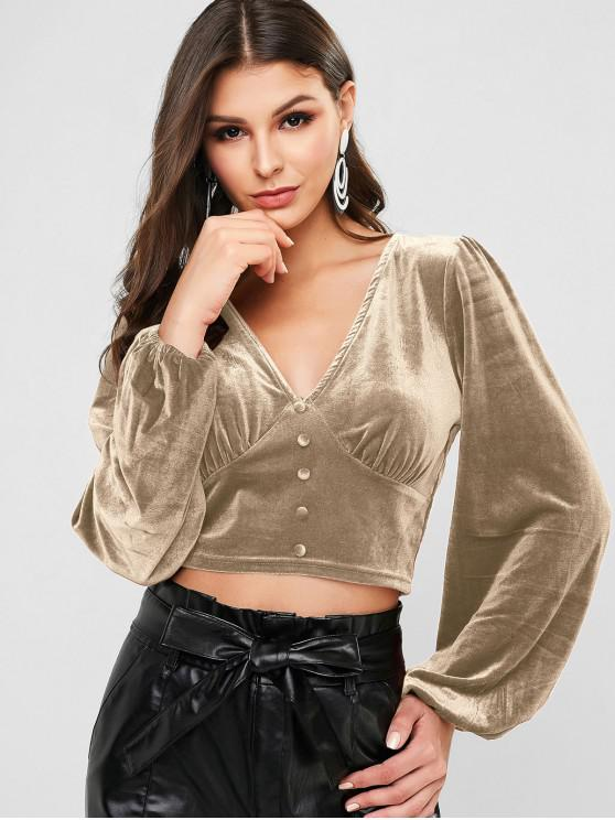 latest ZAFUL Buttons V Neck Velvet Crop Tee - KHAKI L