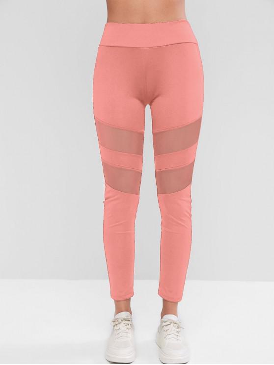 trendy Mesh Insert Skinny Workout Leggings - PINK S