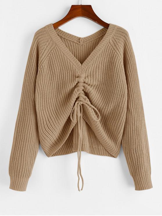 trendy ZAFUL V Neck Shirred Ribbed High Low Sweater - KHAKI M