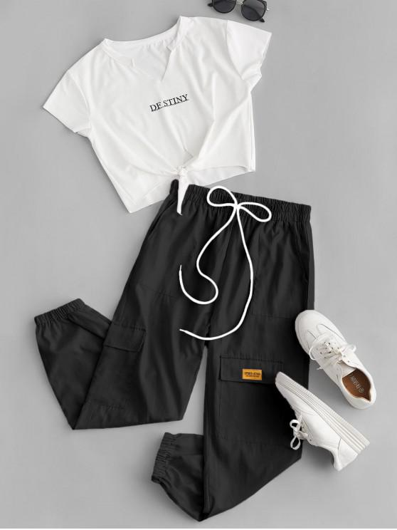 fashion Letter Crop Tee and Jogger Pants Set - BLACK M