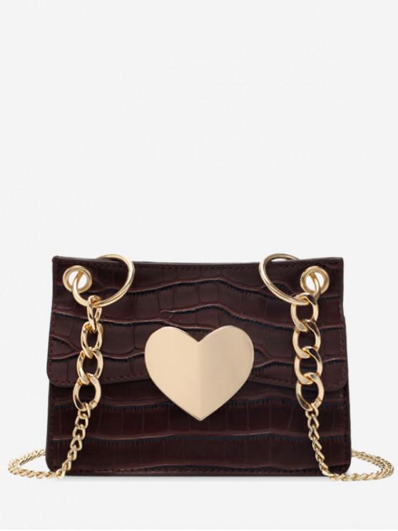 hot Animal Embossed Heart Design Crossbody Bag - COFFEE