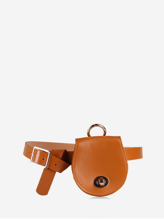 womens Belted Saddle Solid Waist Bag - RUST