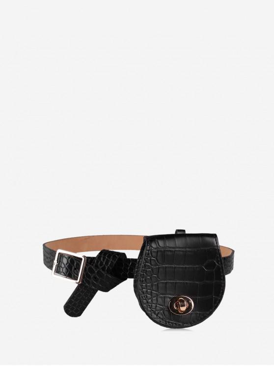 women Belted Saddle Solid Waist Bag - BLACK