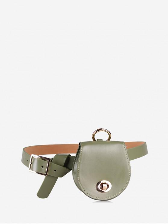 shops Belted Saddle Solid Waist Bag - FERN GREEN