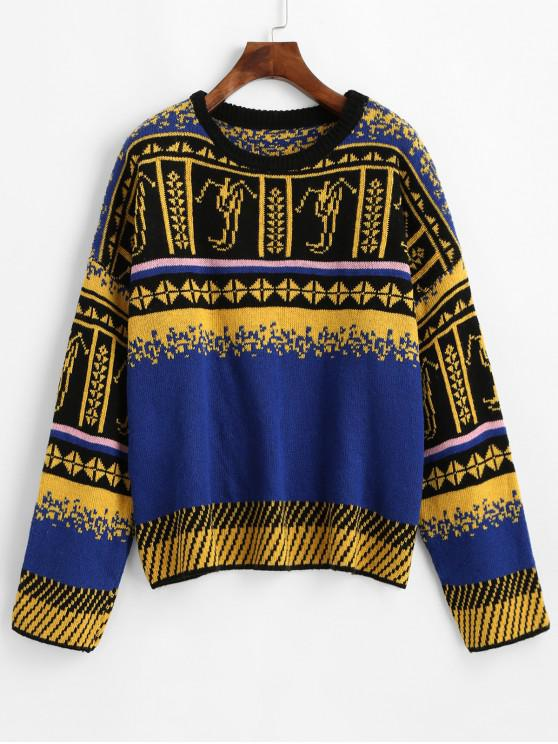 lady Crew Neck Intarsia Knit Graphic Jumper Sweater - BLUE ONE SIZE