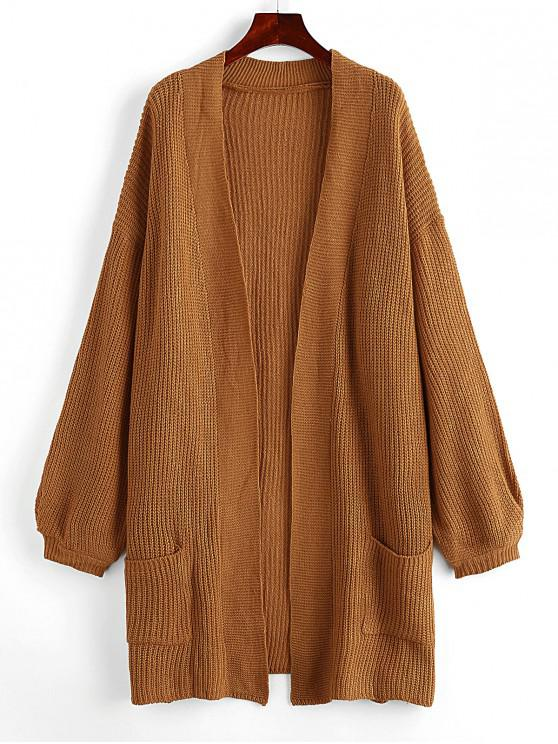 lady Dual Pockets Solid Open Cardigan - BROWN L