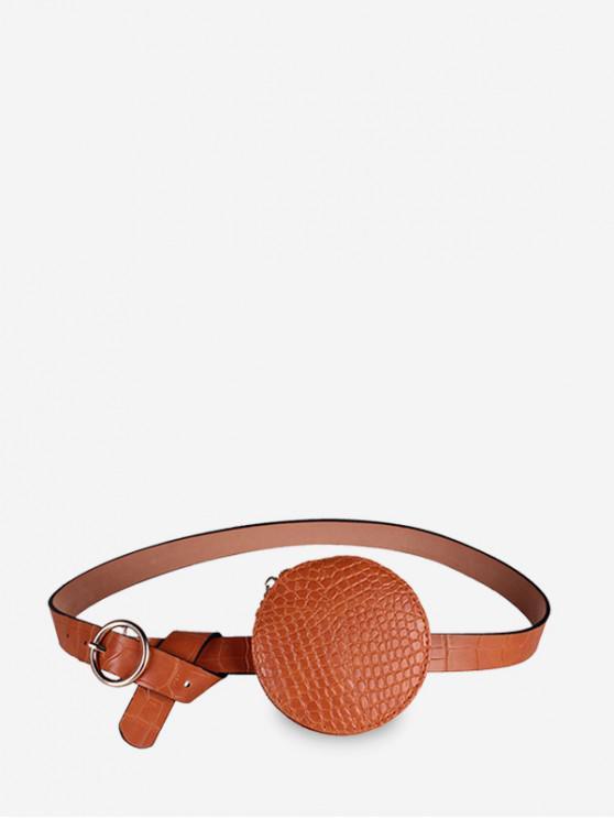 new Round Embossed Solid Waist Belt Bag - RUST