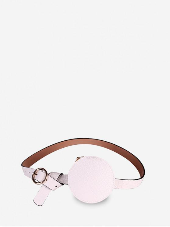 sale Round Embossed Solid Waist Belt Bag - WHITE