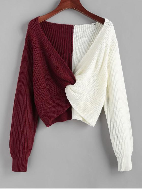 ZAFUL contrasto bicolore Maglione torto fosso - Multi Colori L