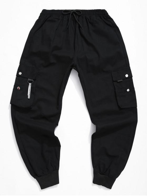 Calças Sólidos Casual Cor Projeto do bolso Jogger - Preto L