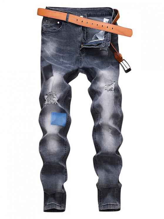 latest Distressed Ripped Decorated Zip Fly Jeans - DENIM DARK BLUE 36