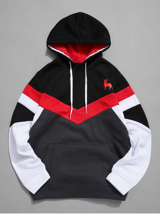chic Color-blocking Chevron Front Pocket Fleece Hoodie - BLACK S