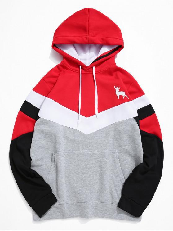 trendy Color-blocking Chevron Front Pocket Fleece Hoodie - RED S