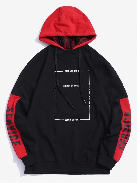 unique Graphic Printed Color Blocking Casual Hoodie - RED S