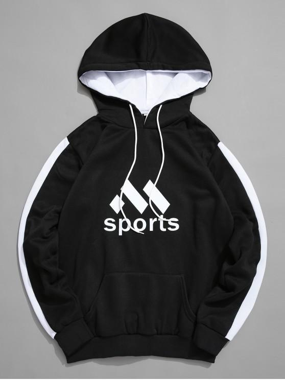 outfits Sport Graphic Kangaroo Pocket Fleece Hoodie - BLACK L