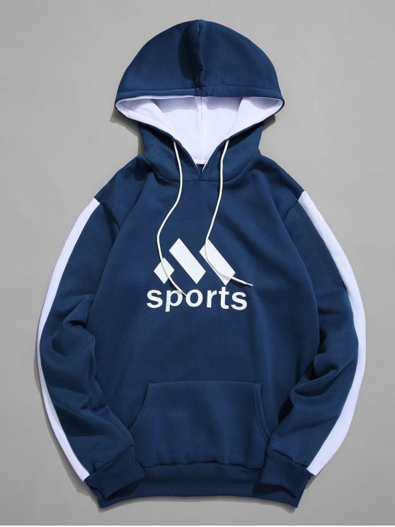 affordable Sport Graphic Kangaroo Pocket Fleece Hoodie - BLUE XL