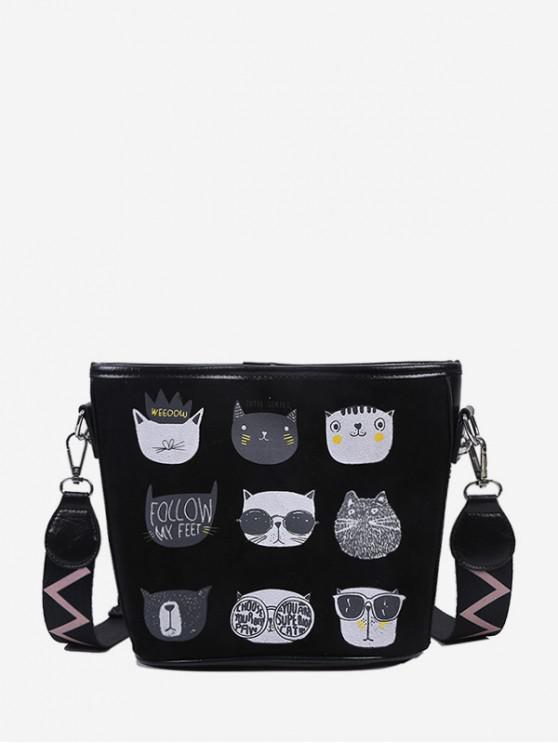 women's Cartoon Cat Print Wide Strap Bucket Bag - BLACK