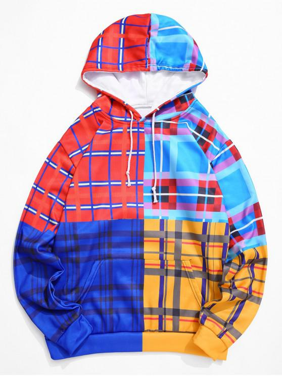 outfit Colorblock Plaid Spliced Casual Drawstring Hoodie - MULTI-A 4XL