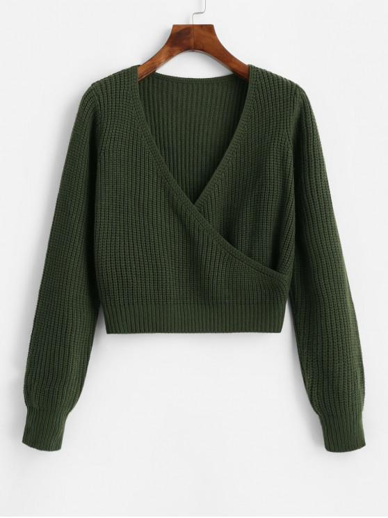 unique ZAFUL Surplice Plunging Short Sweater - CAMOUFLAGE GREEN S