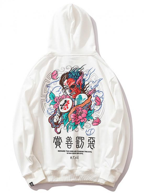 sale Floral Evil Letter Print Drawstring Casual Hoodie - WHITE M