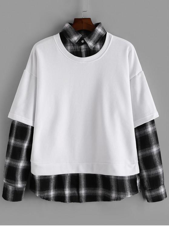 hot Plaid Splicing Faux Twinset Sweatshirt - WHITE M