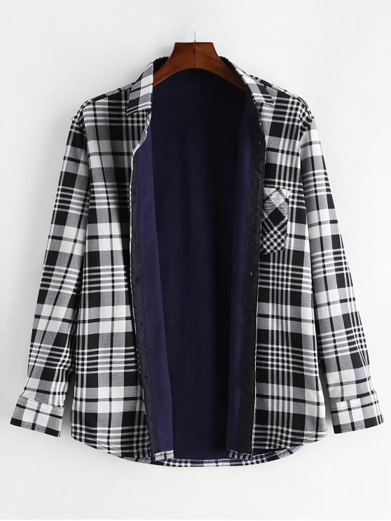 Plaid Print piept de buzunar buton Fleece Shirt - Multi L