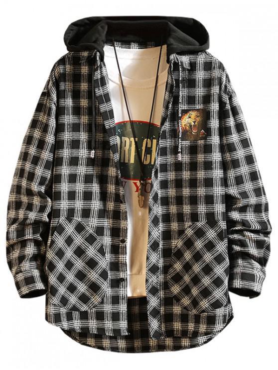 Carouri leopard de imprimare de înaltă scăzut Color Block Hooded Shirt - Negru XL