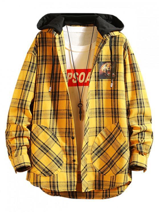 shop Plaid Lepoard Print High Low Colorblock Hooded Shirt - YELLOW 2XL