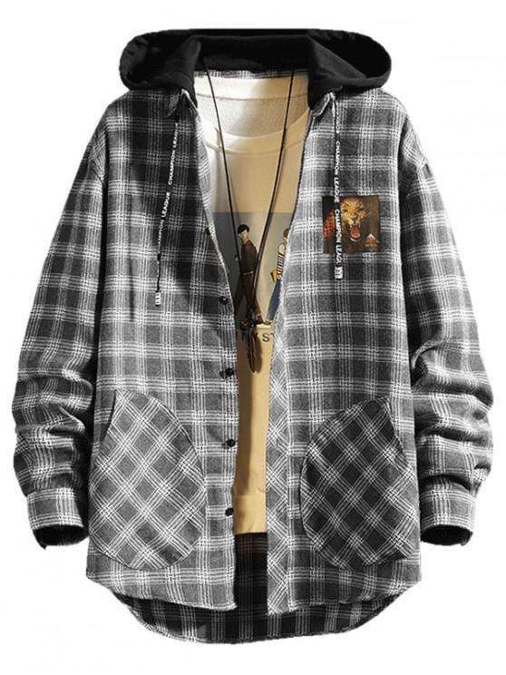 latest Plaid Lepoard Print High Low Colorblock Hooded Shirt - GRAY M