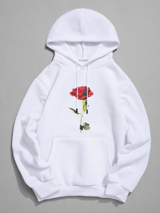 womens Rose Print Kangaroo Pocket Casual Hoodie - WHITE L