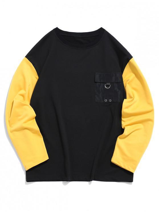 women's Pocket Decorated Color Spliced Sweatshirt - BLACK XL