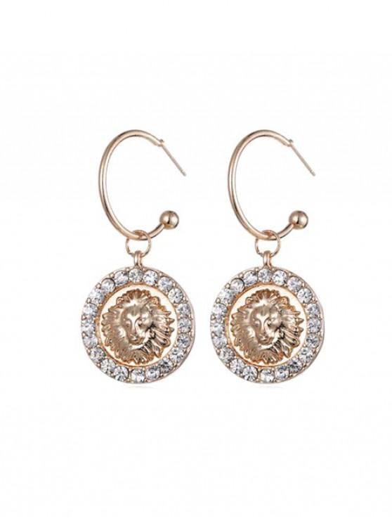 trendy Round Lion Head Rhinestone Drop Earrings - GOLD