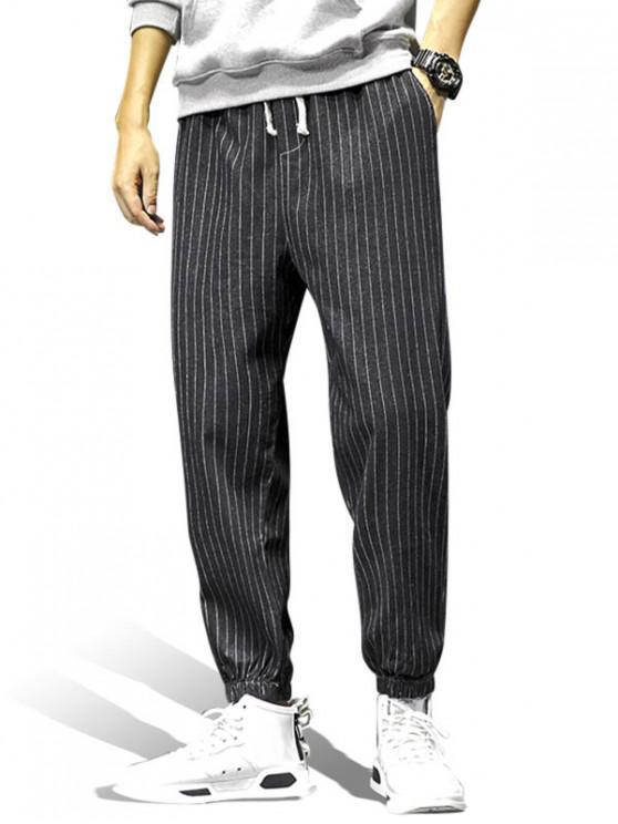 womens Striped Pattern Pocket Decorated Jogger Pants - BLACK XL