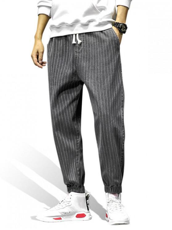 Padrão listrado calças bolso Decorado Jogger - Cinzento Escuro XL