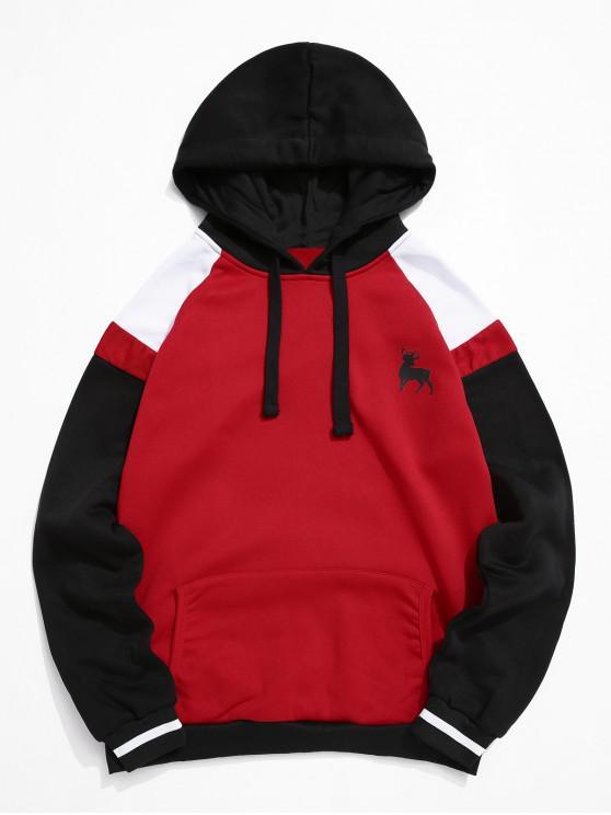 Color-blocare Raglan maneca Cordon Fleece Hoodie - roșu 2XL