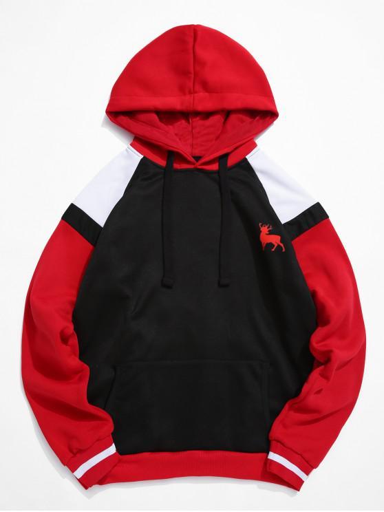 trendy Color-blocking Raglan Sleeve Drawstring Fleece Hoodie - BLACK M