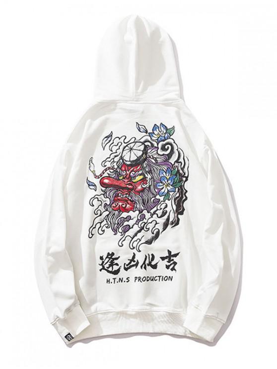 Devil Chineză Scrisoare de imprimare Cordon Hoodie - alb 2XL