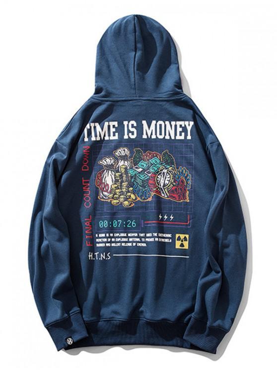 時間就是金錢字母圖形打印抽繩連帽外套 - 藍色 2XL