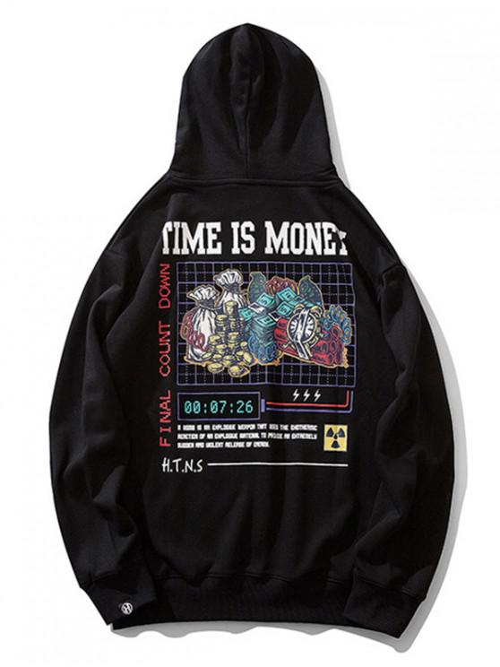 latest Time is Money Letter Graphic Print Drawstring Hoodie - BLACK XL