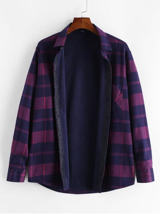 new Checkered Print Pocket Button Fleece Shirt - MULTI XS