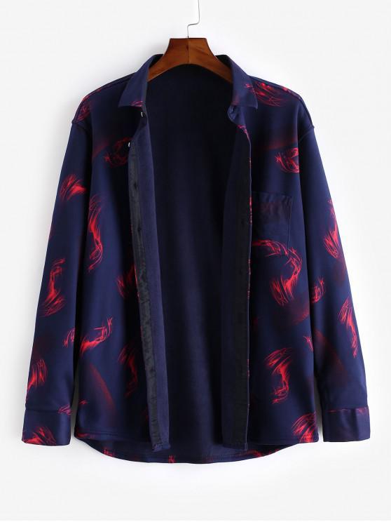 chic Casual Chest Pocket Flame Print Fleece Button Shirt - MULTI L