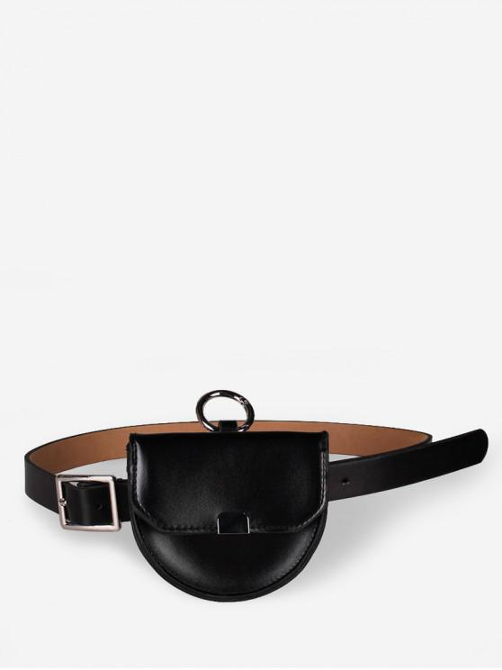 shop Semicircle Detachable Dual-use Waist Bags - BLACK