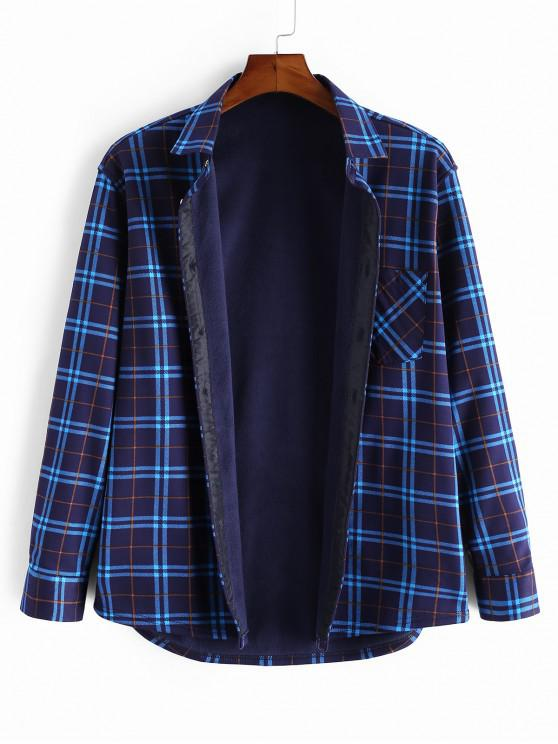 affordable Plaid Print Pocket Fleece Long Sleeve Shirt - MULTI XS