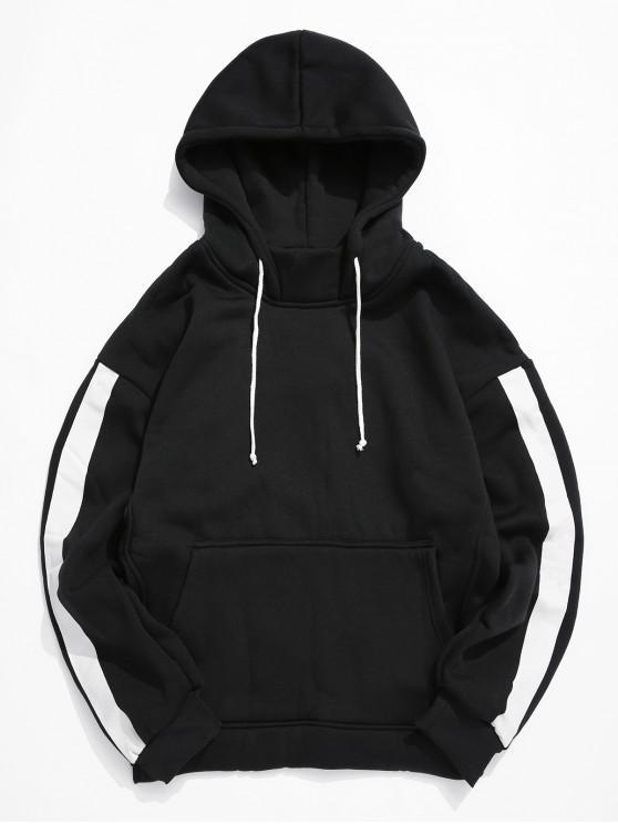 affordable Color Spliced Kangaroo Pocket Hoodie - BLACK L