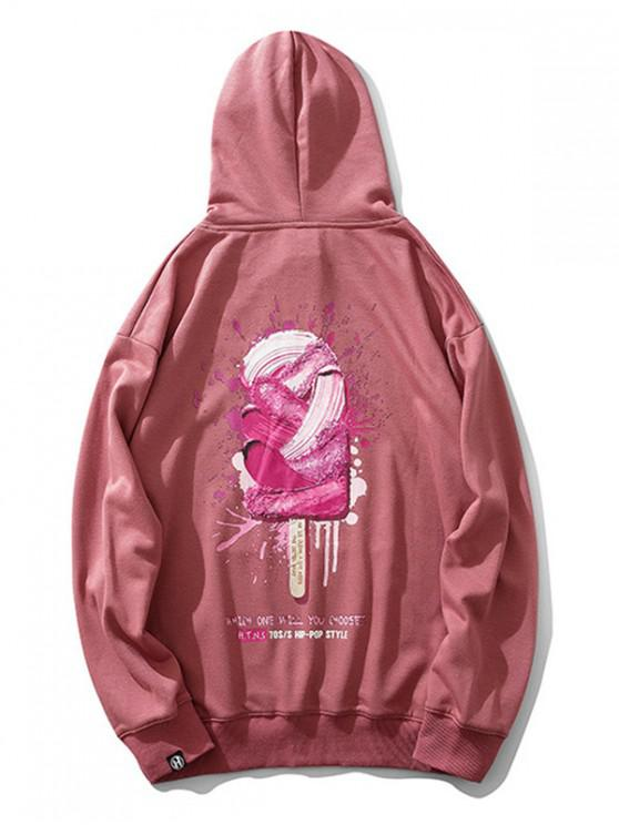 affordable Ice Cream Paint Letter Print Drawstring Hoodie - PINK 2XL