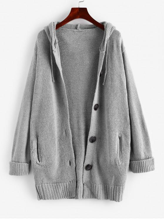 women's Button Up Cuffed Sleeves Hooded Cardigan - GRAY L